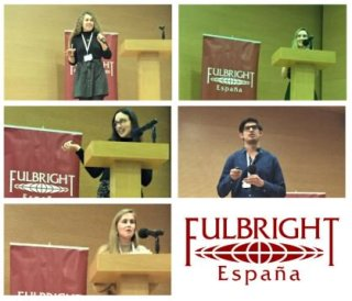 A sampling of photographs of student presentations taken by the Fulbright commission