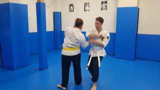 Practicing wristlocks in Yawara-jitsu