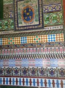 A sampling of tiles in a doorway at the monastery of La Cartuja